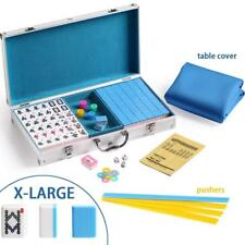 144 Blue Tiles Chinese Mahjong Silver Aluminum Case with Pushers and Cover Set