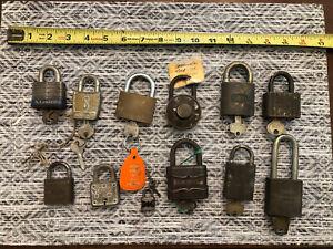 Antique Small Padlock Lock Lot Best Dudley Corbin Slaymaker Master With Keys