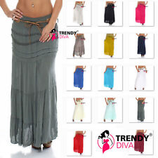 Ladies Cotton Lace Boho Layer Hippy Maxi Skirt Gypsy Festival Holiday Carnival