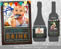 Personalised Wine Champagne Bottle Label Child Might B The Reason You Drink Xmas