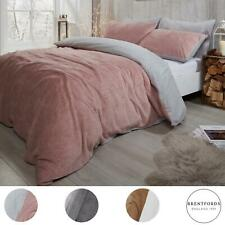 Brentfords Reversible Teddy Fleece Duvet Cover with Pillowcase Bedding Set Blush