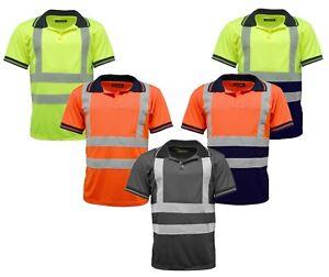Hi Vis Viz High Visibility Short Sleeve Safety Work Polo T Shirt EN471 Class 2:2