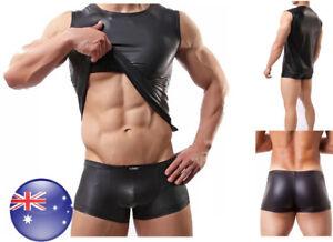 AU Men's Muscle Black PU Sleeveless T-shirt Boxer Shorts Lingerie Set Mardi Gras