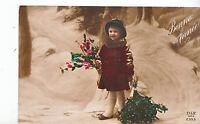 Greeting Postcard - Bonne Annee - Happy New Year - Little Girl in Snow   ZZ3016