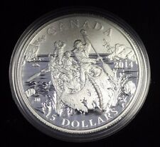 2014 $15 Fine silver-Exploring Canada -The Voyageurs - w/Cao Box