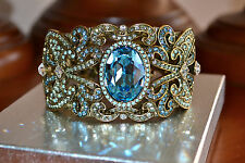 "NIB $230 Heidi Daus ""To the Moon, Heidi!"" Blue Topaz Crystal Cuff Bracelet M/L"