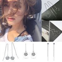 Women Geometric Line Drop Dangle Long Chain Threader Thread Earrings Jewelry