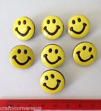 7x Large Round Yellow Smiley Face Novelty Buttons by Dress It Up Jesse James