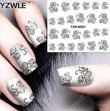 Black & White Floral Design Nail Art Sticker Decal Decoration Manicure