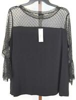 Worhthington Womens Ladies Black Sheer Sleeve Blouse Top Size 1X NEW