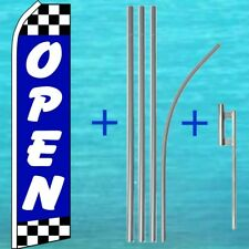 Open Blue w/ Checkers Flutter Flag + Pole Mount Kit Feather Swooper Banner Sign