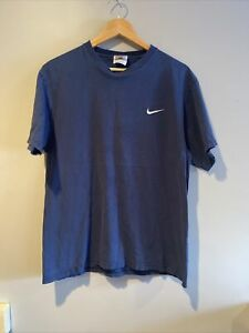 VIntage Nike Men's Embroidered Swoosh Short Sleeve Faded Blue T-Shirt Size M