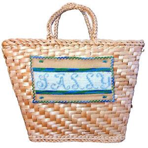 Vintage bag 1950s 50s midollino raffia handbag rattan vimini rush 60s beige shoulderbag shoulderbag