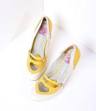 Yellow & Cream Spectator Pumps - Swing heels - Size 7 - Like new