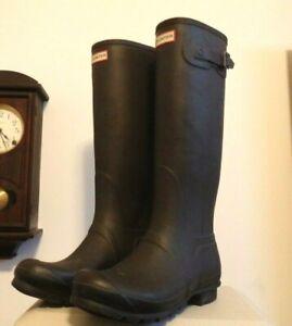 Tall Matte Black HUNTER rain rubber boots wellies  10  GUC