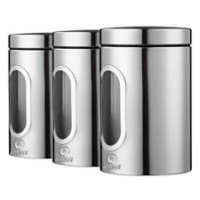 3Pc Sliver Stainless Steel Kitchen Canister Set Sugar Tea Coffee Candy Storage