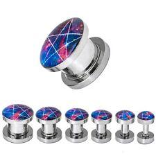 Ein Plug ein Set Plugs mit Pentagramm Galaxy blau lila rot
