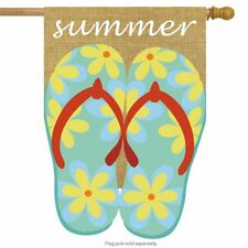 "Summer Flip Flops Burlap House Flag Nautical Flip-Flops 28"" x 40"" Briarwood Lane"