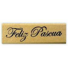 Feliz Pascua mounted rubber stamp, Spanish Happy Easter #21