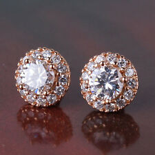 Vintage Luxury Yellow Gold Filled Clear Sapphire Rhinestone Round Earrings Studs