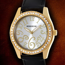 Rousseau Calame Swarovski crystals With Black Leather Strap Ladies Watch