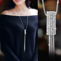 Necklace Women Sweater Tassel Chain Cubic Long Gift Cylinder Pendant Zircon Full