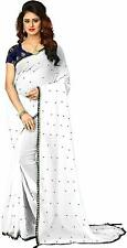Women's Art Silk Saree Diwali Special Party Wear White Color With Blouse Piece