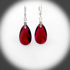 Damen Ohrringe Hänger 925 Sterling Silber Swarovski Kristalle 22 mm Rubin Rot