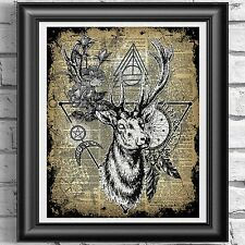 ART PRINT ON ORIGINAL ANTIQUE BOOK PAGE Witchcraft Wiccan Deer Stag Dictionary