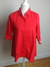 Size 8 Ladies Red Blouse Shirt 3/4 Sleeves 100% Cotton New