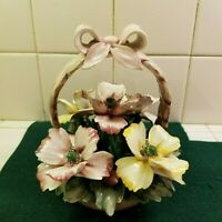 Capodimonte flower basket made in Italy