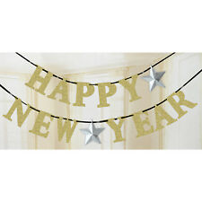 Happy New Year Gold Glitter Silver Stars Letter Banner Party Decoration