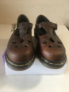 Dr Martens Mary Jane Brown Leather Buckle Made In England Womens Sz 4 UK/ 6 US