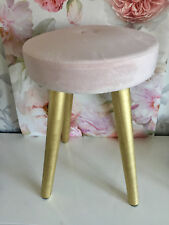 Blush Velour Pink Gold Legs Dressing Table Seat Foot Stool Chair Seat Next Day