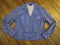 Jones New York Blue and White Zip Front Jacket Blazer     Size Large