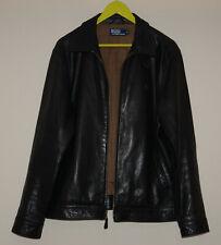 Polo Ralph Lauren Mens Black Lambskin Leather Jacket Size M