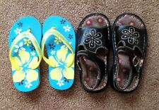 GIRLS SHOES 2 PAIRS SIZE 10 SANDALS FADED GLORY /FLIP FLOPS ENSY CUTE!!!!