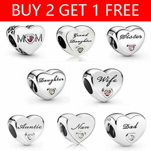 Hot Genuine PANDORA Sterling Silver ALE S925 Charm Daughter Wife Mum Love Heart