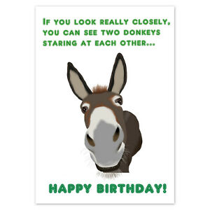 FUNNY BIRTHDAY CARD Rude Adult Humour for Men Women Male Female ~ Two Donkeys