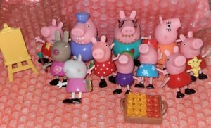 Mixed Lot Peppa Pig Figure Toy Figures 13 pieces figurine and accessories.