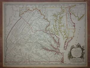 VIRGINIA MARYLAND 1778 ROBERT DE VAUGONDY UNUSUAL LARGE ANTIQUE ENGRAVED MAP