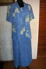 Tailleur jupe longue top et chemisier polyester bleu fleurs UN JOUR AILLEURS 42