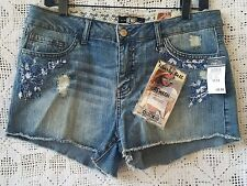 NWT Rue 21 REWASH Cut Off Jean Shorts 11/12 LACE Trim EMBROIDERED Embellished