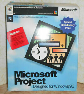 """💻 Microsoft Project Software Windows 95 """"7~ 3.5"""" DISCS,💥 UpGrade-able,Open~Box"""