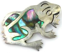 VINTAGE STERLING SILVER FROG BROOCH PIN MEXICO ABALONE SHELL ETCHED ACCENTS