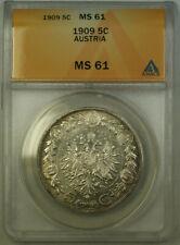 1909 Austria 5 Corona Silver Coin ANACS MS-61