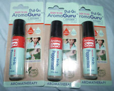NEW (3) Ready To Use Roll On Aroma Guru Peppermint Sweet Almond Oil Aromatherapy