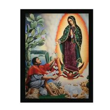 Praying to Guadalupe Religious Art Catholic Art Wood Framed Picture Print