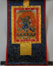 "14""SILK BROCADED GOLDEN WOOD SCROLL TIBET THANGKA! VAJRAPANI, FORCE OF BUDDHA ="