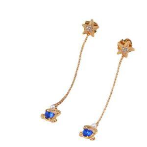 Kate Spade Sea Star Crab Linear Earrings Blue Crystal Gold NEW w/ Dust Bag